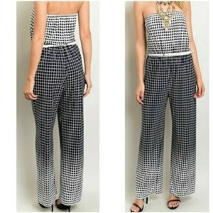 Navy and blue jumpsuit with belt